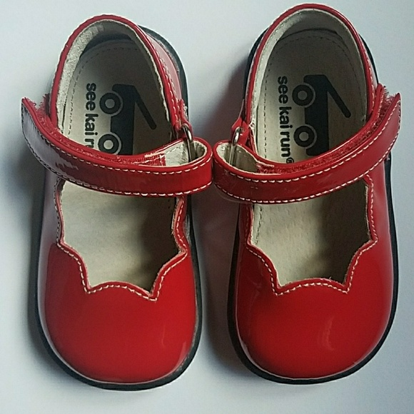 See Kai Run Toddler Girl Red Mary Janes Size 5 dd27b8cd2487